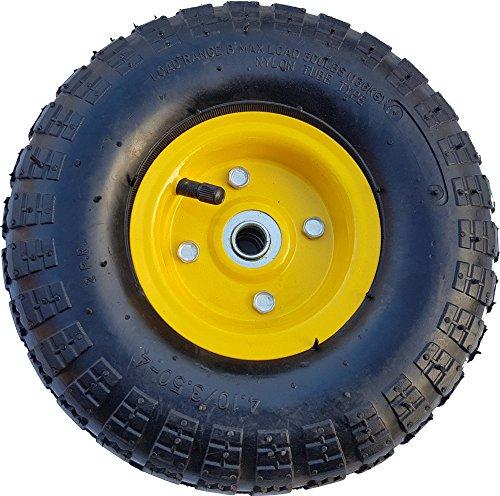 Frosal Luft Rad Bollerwagen Ø 260 mm 4.10/3.50-4 | Ersatzrad Reifen Sackkarre | Achse 16 mm | Luftrad Kugellager | Stahlfelge Gelb - 3.5 Luft
