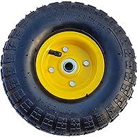 Frosal Luft Rad Bollerwagen Ø 260 mm 4.10/3.50-4 | Ersatzrad Reifen Sackkarre | Achse 16 mm | Luftrad Kugellager | Stahlfelge Gelb