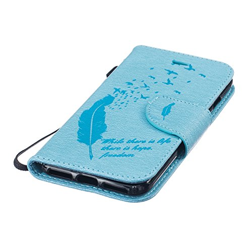 Cover per iPhone 7 4.7 Fiori Custodia,BtDuck Ultra Sottile PU Pelle Shell Disegno Mandala Datura fiori Retro protettivi Bumper Covers Caso per iPhone 7 4.7 Chiusura Magnetica Snap-on ID Carte di Credi #4 Blu