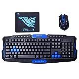 AiSi Gaming Tastatur und Maus Set, USB Kabellose Tastatur Maus, Wireless Multimedia Gaming Keyboard + 2.4GHz 4 Buttons Mouse Set, Wireless Tastatur Maus Kombination mit Mauspad Blau