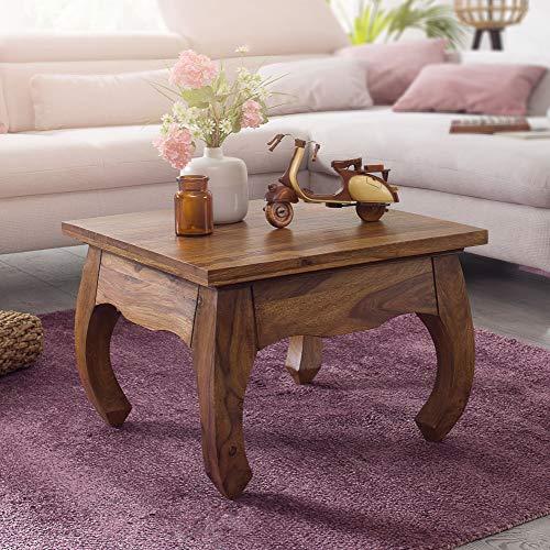 FineBuy Opium Couchtisch Jaipur 60 x 40 x 60 cm Sheesham Massiv-Holz   Echtholz Wohnzimmertisch quadratisch braun   Palisander Stubentisch niedrig   Beistelltisch Sofatisch klein   Tisch Wohnzimmer