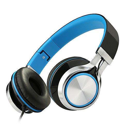Sound Intone Ms200 La gran música en el teléfono del receptor de cabeza auriculares auricular bajo pesado equipo auricular plegar los auriculares de juegos para dispositivos iPhone y Android 6colores (Negro  azul)