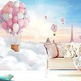 Lzhenjiang Wandbilder Seide Tuch Pink Heißluftballon In Den Himmel, Im Mediterranen Stil Mauer Romantische Kind Prinzessin Zimmer Mädchen Schlafzimmer Hintergrund Tapete