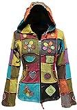 Shopoholic Mode Damen Liebe Frieden Patchwork Hippy Kapuzenpulli Jacke - Multi, XX-Large