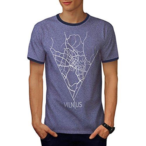 Stadt Karte Mode Vilnius Litauen Herren XL Ringer T-shirt   Wellcoda (Bild Ringer T-shirt)