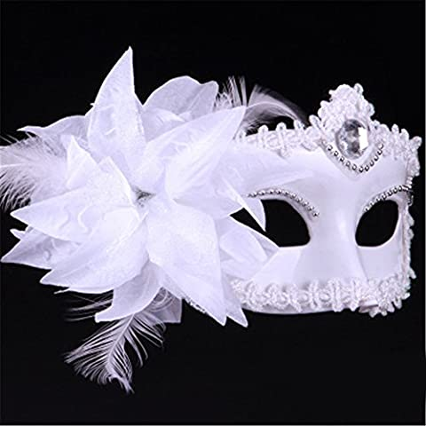 Halloween Mask Make-Up Dance Show Painted Beautiful Feather Princess Masques,Blanc