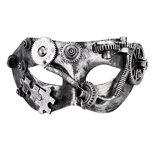 Coddsmz Masquerade Máscara de Steampunk Fantasma de la máscara Veneciana Máscara de Fiesta mecánica (Plata Antigua 2)