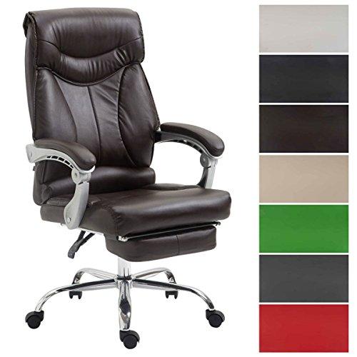 CLP Bürostuhl Big Iowa mit Kunstlederbezug, Chefsessel mit Fußstütze, max. belastbar bis 136 kg, höhenverstellbar Braun - Iowa Leder