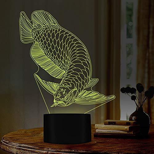WZYMNYD Goldener Fisch Arowana Design Nacht Nächte 7 Farbwechsel Nachtlampe ideales Geschenk für Sportler Freund Raum Dekor Festival Geschenk