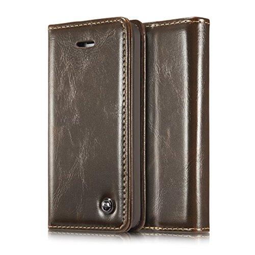 iPhone 5S Hülle, CaseMe PU Leder schutzhülle Handy Tasche Hülle case cover mit Karte Halter Magnetverschluss für iPhone SE/5/5S (braun) (I Karte Halter Phone Mit 5s-cover)