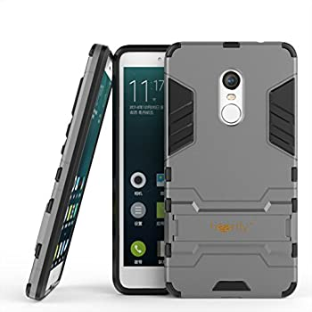 best loved 1c9bf 228d7 Heartly Xiaomi Mi Redmi Note 4 Back Cover Graphic Kickstand Hard Dual  Rugged Armor Hybrid Bumper Case - Metal Grey