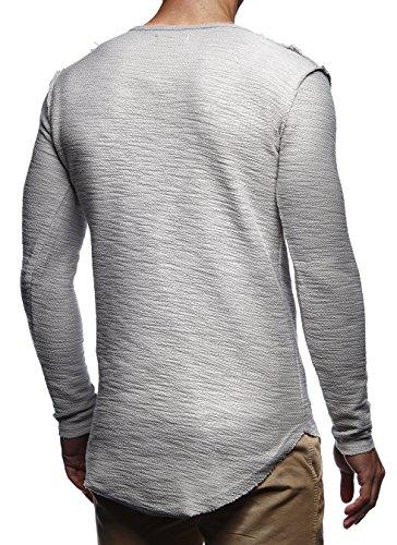 LEIF NELSON Herren Pullover Hoodie Sweatjacke Longsleeve Sweatshirt Jacke Basic Rundhals Langarm oversize Shirt Hoody Sweater LN6323 Signalgrau