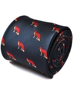 Frederick Thomas azul marino corbata con bordado de zorro rojo diseño con signature diseño de flores to the posterior