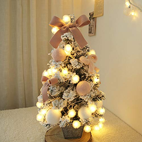nk beflockt Weihnachtsbaum Weihnachtsbaum 60cm kleine Desktop rosa Mini Christbaumschmuck speichert, 60cm rosa ()