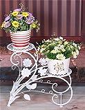 LX étagère à fleurs European-Style Garten-Doppelte Eisen-Fußboden-Blumen-Topf-Regal, Blume Rack Hält 2-Blumentopf Für Innen-, Wohnzimmer, Balkon Rack de rangement Support de pots intérieur extéri ( Farbe : Weiß )