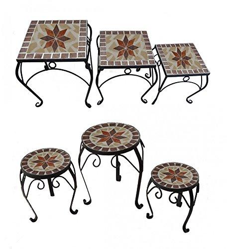 Benelando 3er Set Blumenhocker Beistelltisch Gartentisch Blumentisch Blumenständer Blumen (Quadratisch) -
