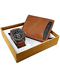 XPRA Analog Watch, Blue & Black Card Removable Genuine Leather Wallet For Men/Boys Combo (Pack Of 2) - (WCH-WL...