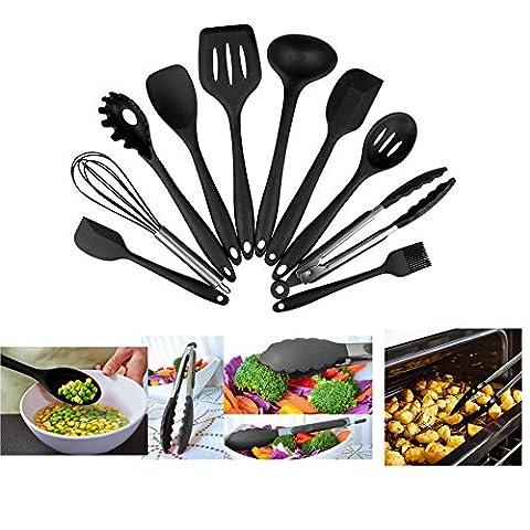 Cloud 10 Stück Silikon Küchenhelfer Set, Silicone Kitchen Utensils - Zangen Schneebesen , Pinsel, Spachtel, Schaumlöffel , Löffel Nudeln, Reis Paddel, Kelle, Suppenlöffel - Hitzebeständige Kochen (4 Stück Silikon-spachtel)