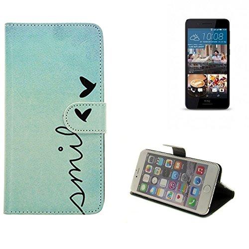 360° Wallet Case Schutz Hülle für HTC Desire 728G Dual SIM, ''smile'' | Smarpthone Flip cover Flipstyle Tasche - K-S-Trade (TM)