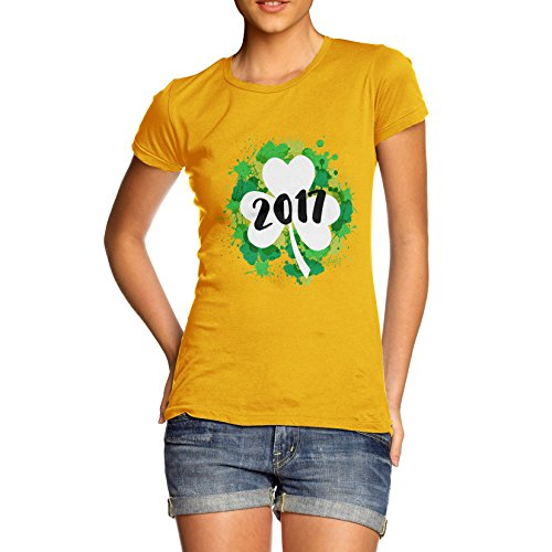 TWISTED ENVY Damen T-Shirt St Patrick's Day Clover 2017 Print Gelb
