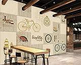 Einfache Stil Cafe Dekoration Tapete Dessert Shop Bäckerei Wandbild Handgemalte Fahrrad Englisch Alphabet Holz Wandbild