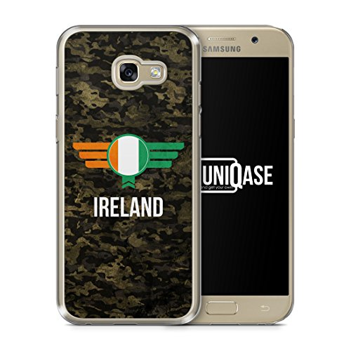 Ireland Irland Camouflage mit Schriftzug - Handy Hülle für Samsung Galaxy A3 (2017) - Cover Hard Case Schutzhülle - Bedruckte Flagge Flag Military Militär Flagge Cover