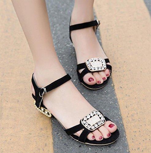 Sandales d'été à talons bas femmes sandales carré strass avec des sandales à bout ouvert Black