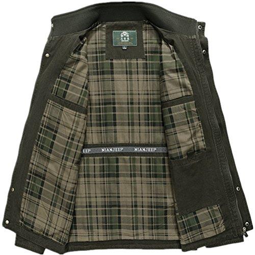 WS668 Hommes Manche Longue Stand Collar Cotton Lightweight Zip Manteaux Classic Bomber Veste Mens Coat Casual Jackets Vert armée