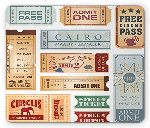 Vintage Mouse Pad, Various Tickets Collection Circus Cinema Museum Festival Old Concept, Standard Size Rectangle Non-Slip Rubber Mousepad, Baby Blue Pale Brown Red