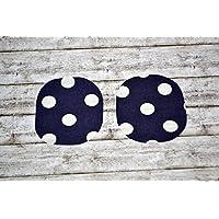 Aufnäher aus Bio-Baumwolle, Flicken, ca. 8x 9 cm, Applikation Knie Patch aufbügeln, Baby, Kind, Mädchen, Jungen, tintenblau dunkelblau, weiß Punkte, abwaschbar, beschichtet, wasserabweisend