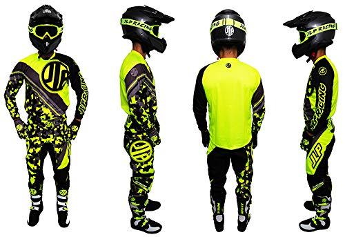 JLP Racing - Tuta da bambino, 9-10 anni, per moto da cross, quad, MTB, BMX, MTB, colore: giallo fluo, taglia 26 US/XL