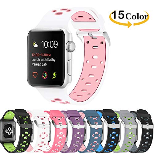 Chok Idea Band Compatible with Apple Watch Correa 38mm 40mm,Silicona Two-Tone Style Transpirable Sport Correa Replacement for iWatch Apple Watch Series 4 Series 3 2/1,White-Rose