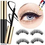 Lcat Magnetische Wimpern Eyeliner, Magnetische Wimpern, Magnetic Eyeliner, Magnetischer Eyeliner Eyelashes Kit Wasserdichter, 2 Pair 3D Wimpern Natürliche Look Mit Magnetic Eyeliner