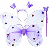 Wobbox Girls Butterfly Wings, Fairy Wings, And Angel Wings For Kids. For Garden Parties, Birthday Parties And Much More. 3 Piece Set Double Layer (Purple)