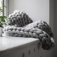 Bequeme warme weiche dicke Linie Riesengarn gestrickte Decke manuelle Weben (Farbe: grau) (Größe: 120x150cm)