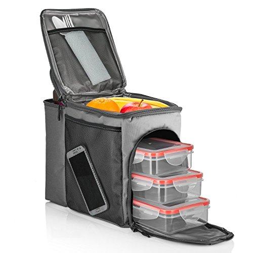 HemingWeigh–Bolsa térmica para el almuerzo, diseño duradero caja de almuerzo con compartimento enfriador de bebida. Correa de Hombro Desmontable + 3recipientes de almacenamiento de alimentos de plástico + hielo unidades incluido.