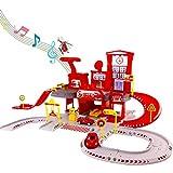 Nuheby Garage Macchine per Bambini 3 4 5 6 Anni, Camion Giocattoli Pompieri Parcheggio Auto Giocattolo Pista Macchinine Regalo Ragazza Ragazzo - 72 Pezzi