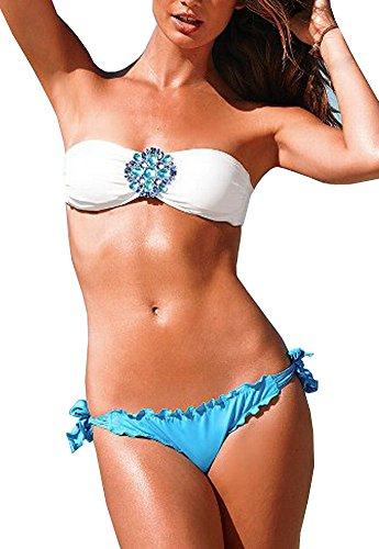 DELEY Donne Senza Spalline Cristallo Decorare Imbottite Sexy Bikini Costumi Da Bagno Calda Estate Spiaggia Blu