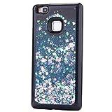 iplusmile Phone Case Shine Herzförmigen Glitter Dynamische Flüssigkeit Quicksand TPU Schutzhülle Shell für Huawei P9 Lite (Blau)