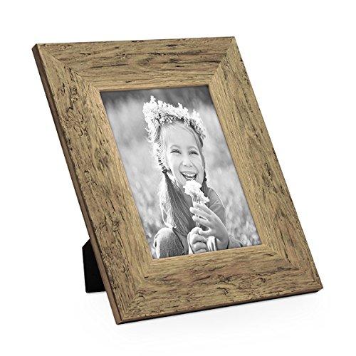 PHOTOLINI Bilderrahmen 18x24 cm Strandhaus Breit Rustikal Eiche-Optik Massivholz mit Glasscheibe inkl. Zubehör/Fotorahmen
