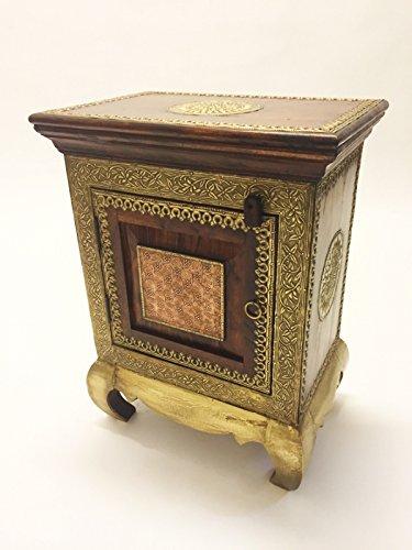 Orientalischer Holz Nachttisch Kalpana Dunkel Holz Messing 60cm Hoch   Orient Vintage Nachtkommode...