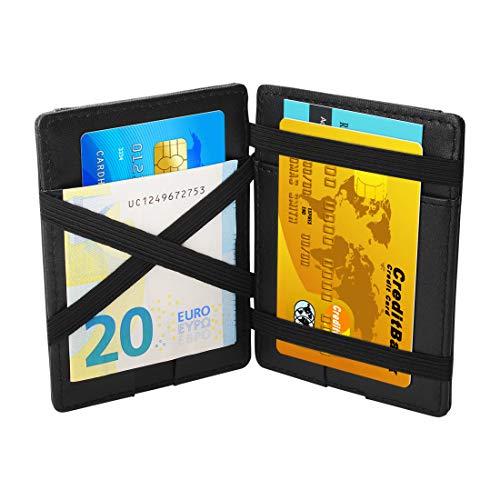 ZAQA-Magic Wallet-männer mini portemonnaie-Geldbörse-Kartenetui-Geldbeutel-Geldtasche-portemonnaie-für Herren-Männer-mit Münzfach und RFID-Schutz-Klein-Leder-schwarz-RFID-slim-for men. -