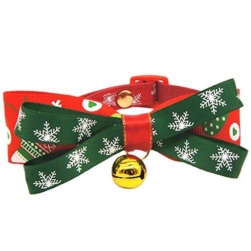 Jannyshop Weihnachten Hundehalsbänder Kostüm Halsband mit große Schleife Weiche Verstellbare Halskette Halsband in Rot & Grün Geschenke für Haustier Hunde Katzen S/M/L/XL (Bichons In Halloween Kostüme)