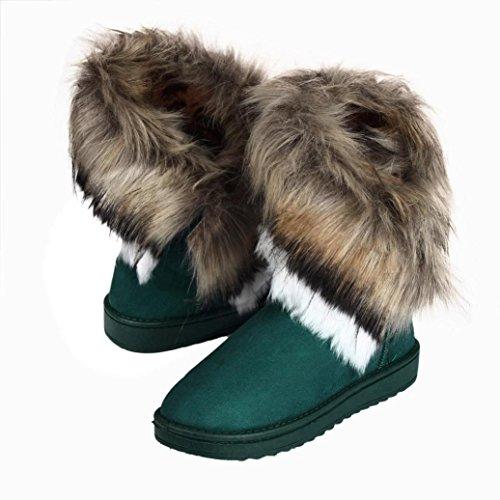 Bottes et boots,Transer® Mode féminine Fourrure Bottes Bottines plates doublées Chaussures de neige d'hiver blue
