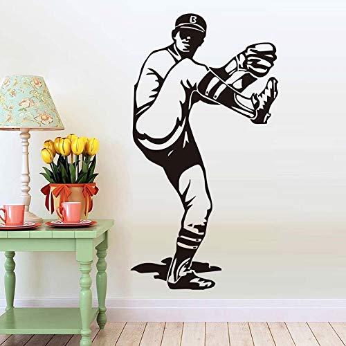 Tianpengyuanshuai Wohnzimmer Baseball krug wandaufkleber PVC abnehmbare Dekoration Sport Zeichen Grafik aufkleber77x144cm -