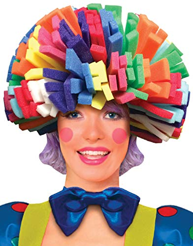 Herren Damen Schaum Regenbogen Afro Clown Zirkus Karneval Halloween Fun Comedy Kostüm Hut