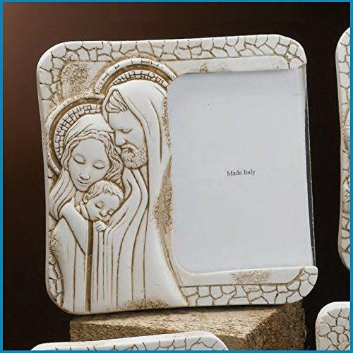 Portafoto sacra famiglia in marmo resina misura 9,5x9,5 cm | bomboniere matrimonio nascita battesimo comunione originali moderne e utili sposi e accessori bomboniere economiche fai da te