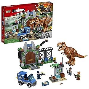 LEGO Juniors - Fuga del T Rex, Set de Construcción de Juguete de Dinosaurio con Muñeco del Tiranosaurio y Minifiguras para Niños y Niñas (10758)