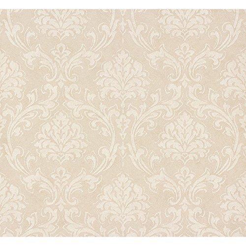 as-creation-klassisch-damask-muster-stoff-motiv-texturierte-vinyltapete-beige-creme-305042