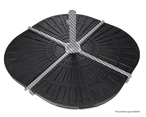 Ondis24 4 x Platten zum Beschweren für Kreuzständer Sonnenschirme je 12 kg schwarz